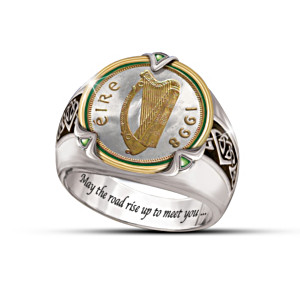 Genuine Irish Penny Ring With Engraved Irish Blessing