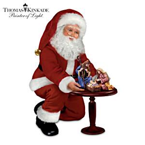 Thomas Kinkade Talking Santa Claus Doll And Nativity Set