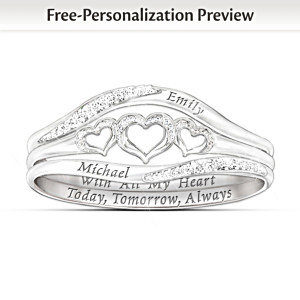 """With All My Heart"" Name-Engraved Diamond Stacking Ring"