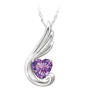 """Touch Of An Angel"" Granddaughter Amethyst Pendant Necklace"