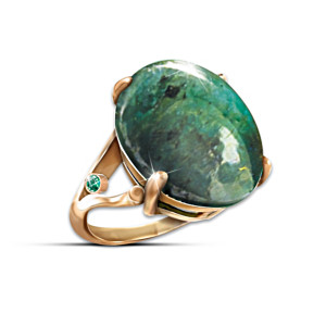 """""""Emerald Legend"""" Ring With 12 Carats Genuine Emerald"""
