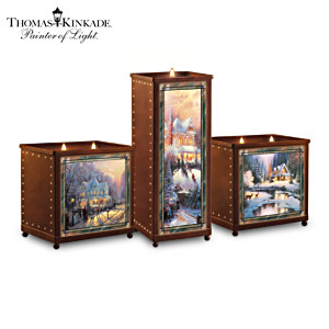 Thomas Kinkade Winter Art On 3 Stained-Glass Candleholders