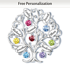 "Family Of Love ""Family Tree"" Birthstone Name-Engraved Brooch"