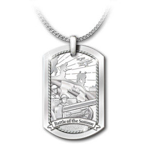 """""""The Battle Of The Somme"""" Dog Tag Tribute Pendant Necklace"""