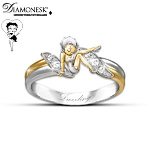 Betty Boop Diamonesk Ring With Choice Of 4 Engravings