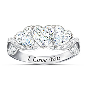 "I Love You ""With All My Heart"" Engraved White Topaz Ring"