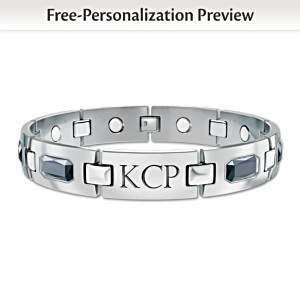 """Optimum"" Men's Titanium Magnetic Monogrammed Bracelet"