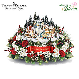 Thomas Kinkade Lighted Floral Holiday Village Centrepiece