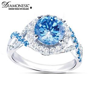 """""""Blue Lagoon"""" Blue And White Diamonesk Women's Ring"""