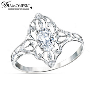 Duchess Kate Style-Inspired Royal Lace Silver Diamonesk Ring
