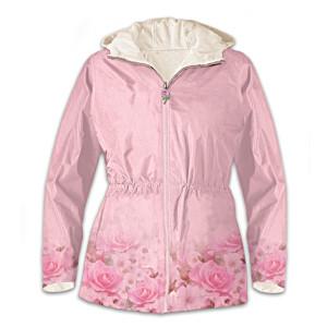 """Blush Of Beauty"" Rose Art Hooded Women's Anorak Jacket"