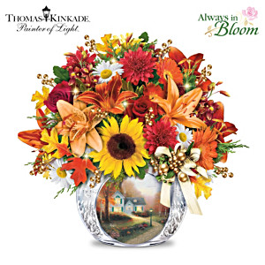 Thomas Kinkade Lighted Autumn Bouquet And Crystal Vase