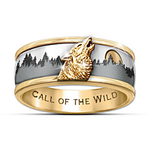 Call Of The Wild 24K Gold Ion-Plated Men's Spinning Ring