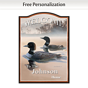 Jim Kasper Loon Wooden Welcome Sign Personalized With Name