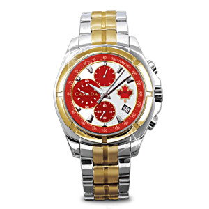 """O Canada"" Engraved Men's Watch Celebrates Canadian Pride"