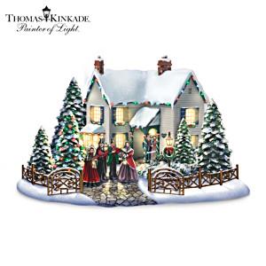 Thomas Kinkade Christmas Village Set With Singing Carollers