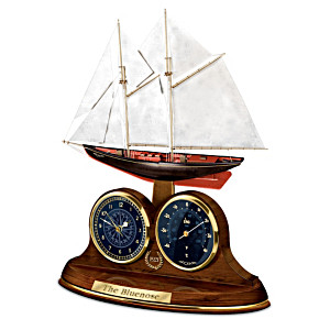 """""""The Bluenose"""" Sculptural Desk Clock With Thermometer"""