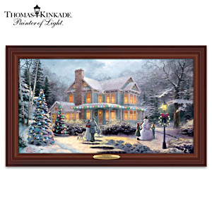 Thomas Kinkade Victorian Family Christmas Lighted Wall Decor
