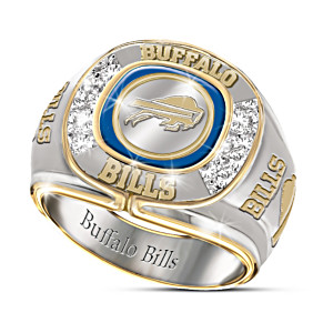 NFL-Licensed Buffalo Bills 8-Diamond Men's Ring