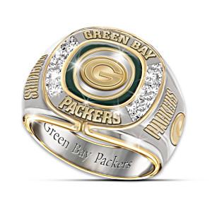 NFL-Licensed Green Bay Packers 8-Diamond Men's Ring