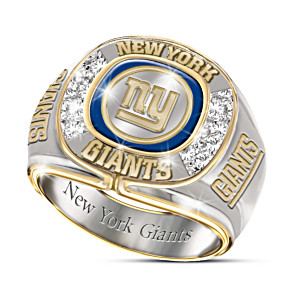 NFL-Licensed New York Giants 8-Diamond Men's Ring