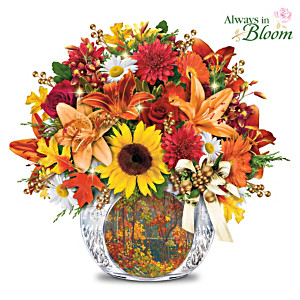 """Autumn Cheer"" Illuminated Floral And Crystal Centrepiece"