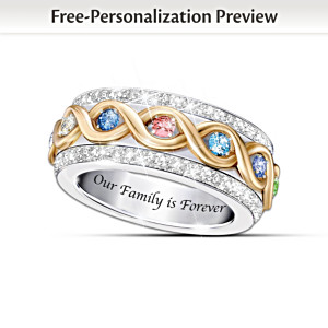"""Family Is Forever"" Birthstone Spinning Ring"