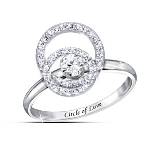 """Circle Of Love"" White Topaz Spinning Ring With Engraving"