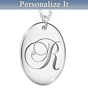 """Precious Daughter"" Diamond Initial Pendant Necklace"