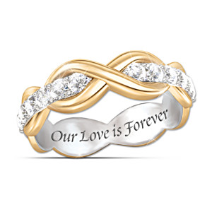 """""""Love Is Forever"""" White Sapphire Infinity Eternity Ring"""