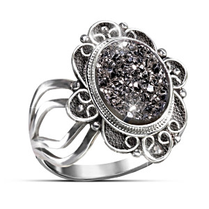 """Mystical Beauty"" Black Agate Druzy Women's Ring"