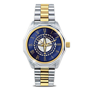 True North Etched Compass Design Two-Toned Men's Watch