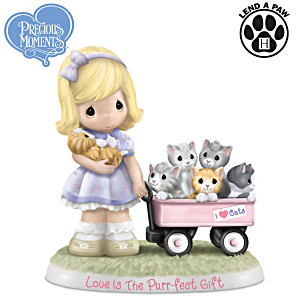 "Precious Moments ""Love Is The Purr-fect Gift"" In Porcelain"