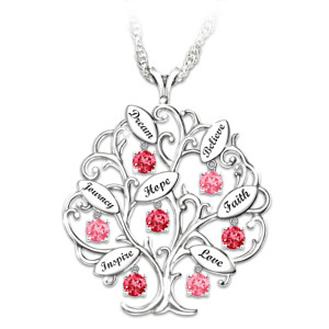 "Breast Cancer Awareness ""Tree Of Hope"" Pendant Necklace"