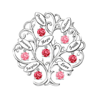 "Breast Cancer Awareness ""Tree Of Hope"" Engraved Brooch"