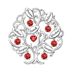 """Tree Of Knowledge"" Teachers' Engraved Crystal Brooch"