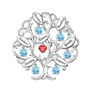 """Tree Of Compassion"" Nurses Engraved Crystal Brooch"