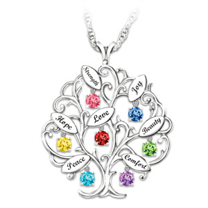 I Wish You Blessing Tree Swarovski Crystal Pendant Necklace
