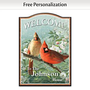 James Hautman Cardinal Art Personalized Welcome Sign