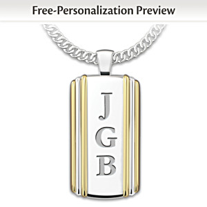 """Always, My Grandson"" Initials-Engraved Dog Tag Pendant"