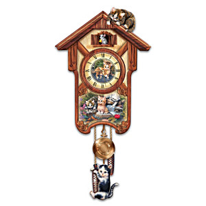 "Jürgen Scholz ""Happy Trails"" Kitten Art Wall Clock"