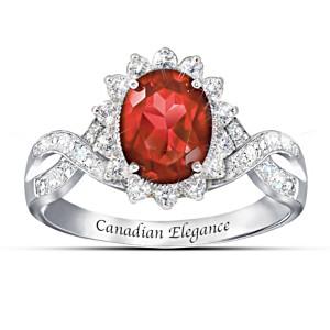 """Canadian Elegance"" Diamonesk Simulated Ruby & Diamond Ring"