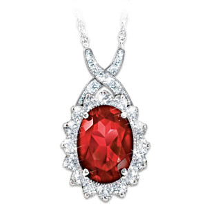 """Canadian Elegance"" Diamonesk Simulated Ruby Necklace"
