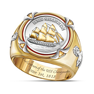 """HMS Shannon"" Commemorative Men's Ring With Replica Coin"