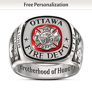"""Brotherhood Of Honour"" Customized Firefighters Tribute Ring"