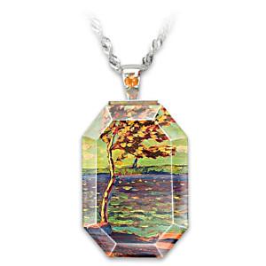"J.E.H. MacDonald ""Winter Bay"" Art Crystal Pendant Necklace"