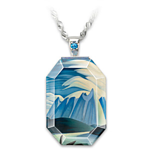 """Lawren Harris """"Lake And Mountains"""" Crystal Pendant Necklace"""