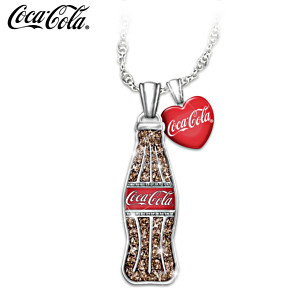 COCA-COLA Crystal Bottle Pendant With Enamelled Heart Charm