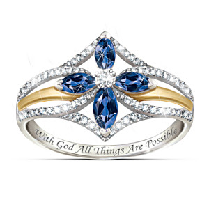 """The Promise Of Faith"" Sapphire And White Topaz Cross Ring"