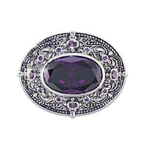 """""""Memories Of Avonlea"""" Rhodium-Plated Purple Crystal Brooch"""